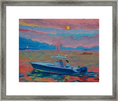 Chesapeake Bay Twilight With Moon Framed Print