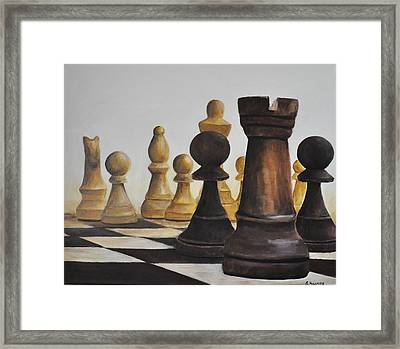 Chess Game Framed Print by Elena Hasnas