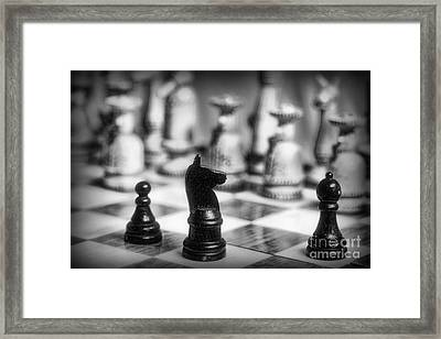 Chess Game In Black And White Framed Print