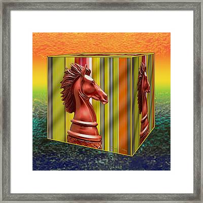 Chess - Knight On A Cube Framed Print
