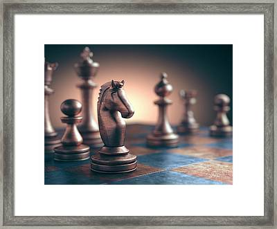 Chess Piece On Chess Board Framed Print