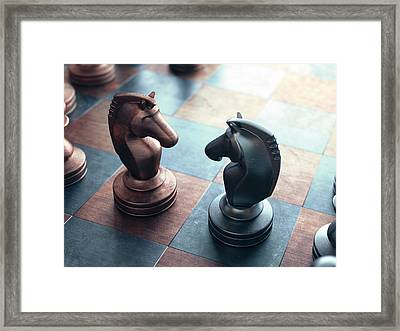 Chess Pieces On A Chess Board Framed Print by Ktsdesign