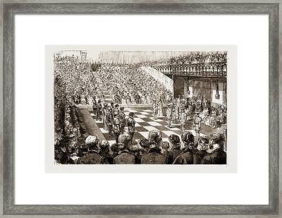 Chess With Living Pieces A Match At The Guildhall Framed Print by Litz Collection