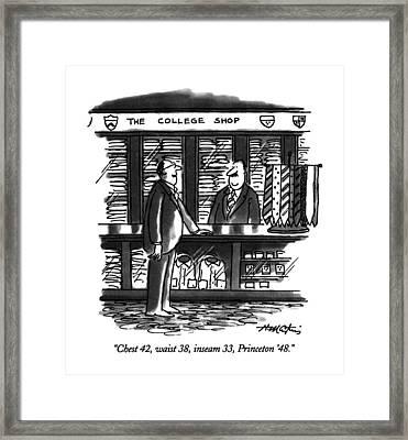 Chest 42, Waist 38, Inseam 33, Princeton '48 Framed Print
