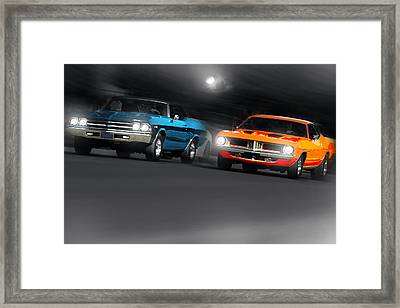 Chevelle Vs 'cuda Framed Print by Gordon Dean II
