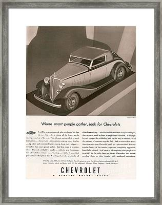 Chevrolet 1933 1930s Usa Cc Cars Framed Print