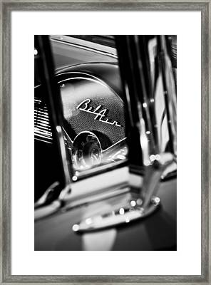Chevrolet Belair Dash Board Emblem -754bw Framed Print