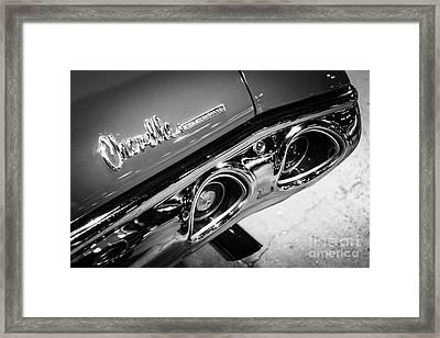 Chevrolet Chevelle Emblem Black And White Picture Framed Print by Paul Velgos