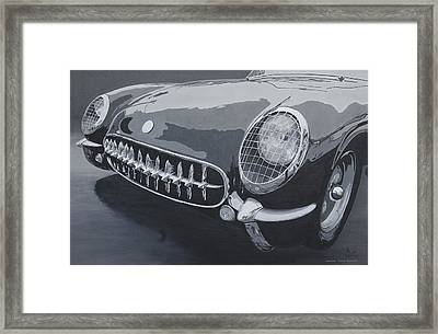 Framed Print featuring the painting Chevrolet Corvette 1954 by Anna Ruzsan