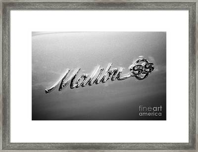 Chevrolet Malibu Ss Emblem Black And White Picture Framed Print by Paul Velgos