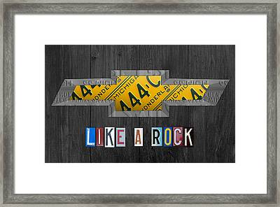 Chevrolet Vintage Logo License Plate Art Like A Rock On Wood Boards Framed Print