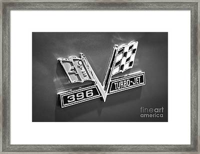 Chevy 396 Turbo-jet Emblem Black And White Picture Framed Print by Paul Velgos