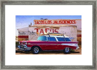 Chevy And Tacos Framed Print by Ron Regalado