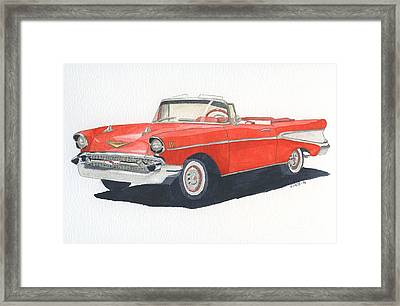 Framed Print featuring the painting Chevy Bel Air Convertible 57 by Eva Ason