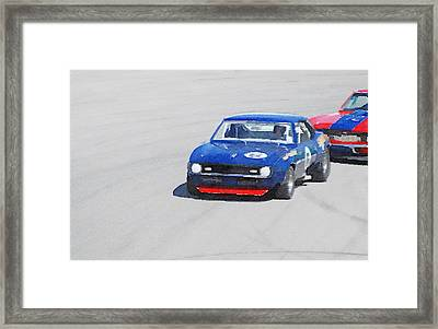 Chevy Camaro On Race Track Watercolor Framed Print