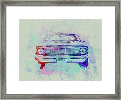Chevy Camaro Watercolor 2 Framed Print by Naxart Studio