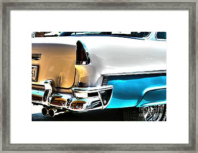 Chevy Car Art Teal And White Rear End Framed Print