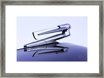 Framed Print featuring the photograph Chevy Hood Ornament In Blue by Betty Denise