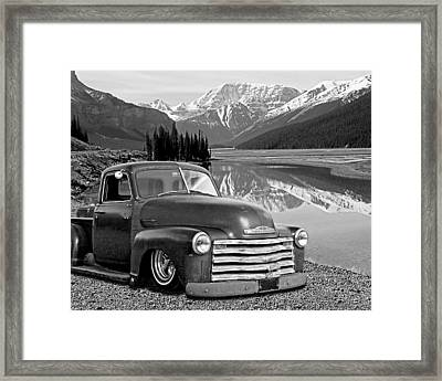 Chevy Pickup In The Rockies In Black And White Framed Print by Gill Billington