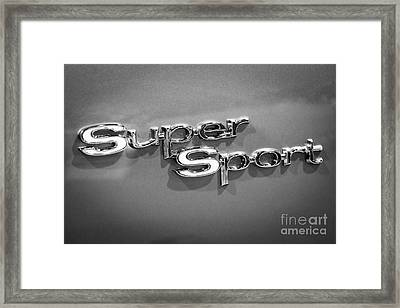 Chevy Super Sport Emblem Black And White Picture Framed Print by Paul Velgos