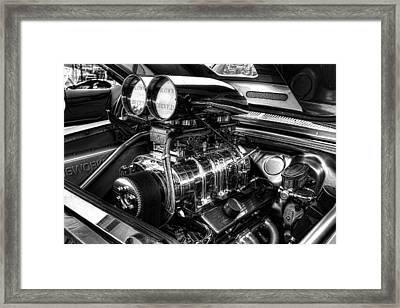 Chevy Supercharger Motor Black And White Framed Print