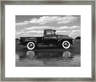 Chevy Truck By The Lake In Black And White Framed Print
