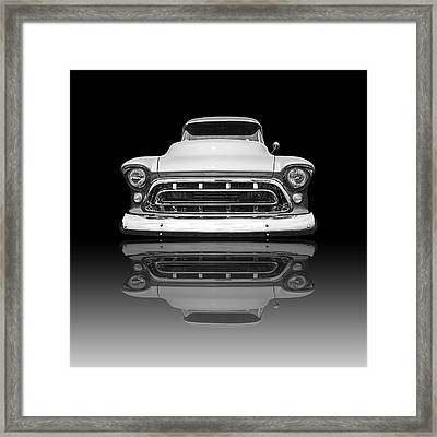 Chevy Truck Reflection On Black Framed Print by Gill Billington