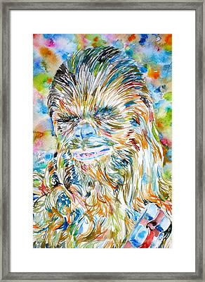 Chewbacca Watercolor Portrait Framed Print by Fabrizio Cassetta