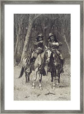Cheyenne Scouts Patrolling The Big Timber Of The North Canadian Oklahoma Framed Print by Frederic Remington