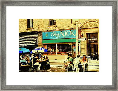Chez Nick On Greene Avenue Montreal In Summer Cafe Art Westmount Terrace Bistros And Umbrellas Framed Print by Carole Spandau