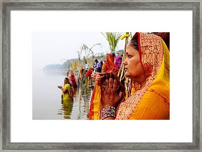 Chhath Prayer Framed Print by Money Sharma