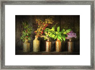 Chiaroscuro Style Image Retro Style Still Life Of Dried Flowers In Vase Against Worn Woo Framed Print by Matthew Gibson