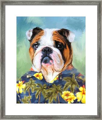 Chic English Bulldog Framed Print