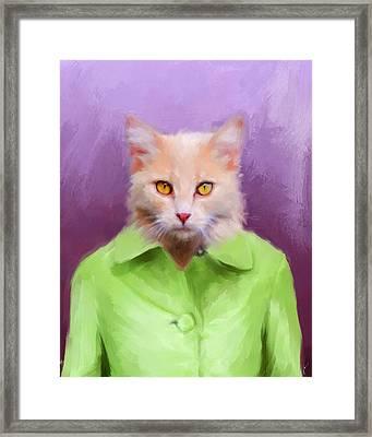 Chic Orange Kitty Cat Framed Print by Jai Johnson