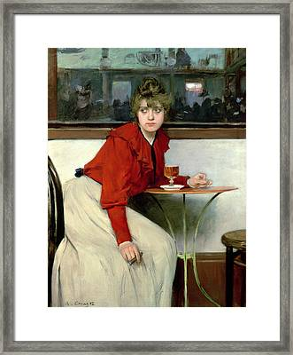 Chica In A Bar Framed Print