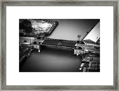 Chicago 95th Street Bridge Aerial Black And White Picture Framed Print