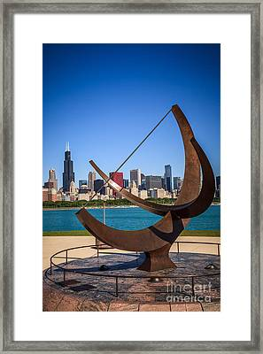 Chicago Adler Planetarium Sundial And Chicago Skyline Framed Print