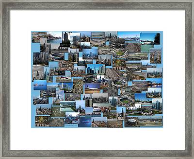 Chicago Aerial Collage Rectangle Framed Print by Thomas Woolworth