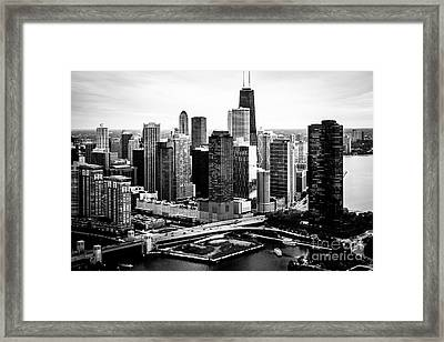 Chicago Aerial Picture Of Streeterville In Black And White Framed Print