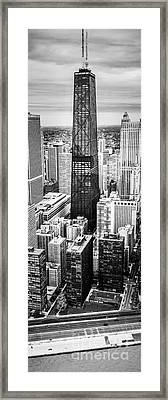 Chicago Aerial Vertical Panoramic Picture Framed Print by Paul Velgos