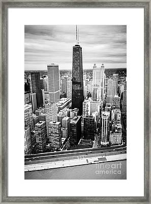 Chicago Aerial With Hancock Building In Black And White Framed Print by Paul Velgos