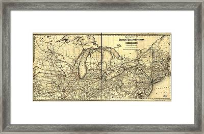 Chicago And Canada Southern Railway Route Map  Framed Print by Georgia Fowler