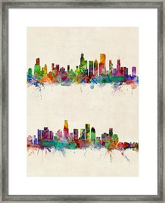 Chicago And Los Angeles Skylines Framed Print