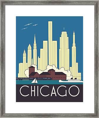 Chicago Art Deco Skyline Framed Print by Josef Spalenka