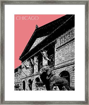 Chicago Art Institute Of Chicago - Light Red Framed Print