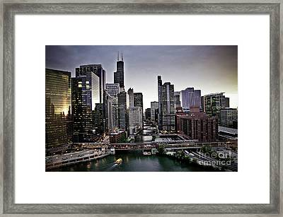 Chicago At Dusk Framed Print
