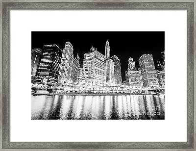 Chicago At Night Black And White Picture Framed Print by Paul Velgos