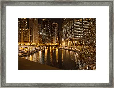 Chicago At Night Framed Print by Daniel Sheldon