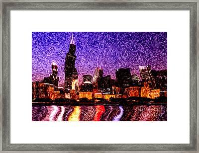 Chicago At Night Digital Art Framed Print