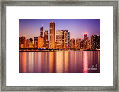 Chicago At Night Downtown City Lakefront Framed Print by Paul Velgos